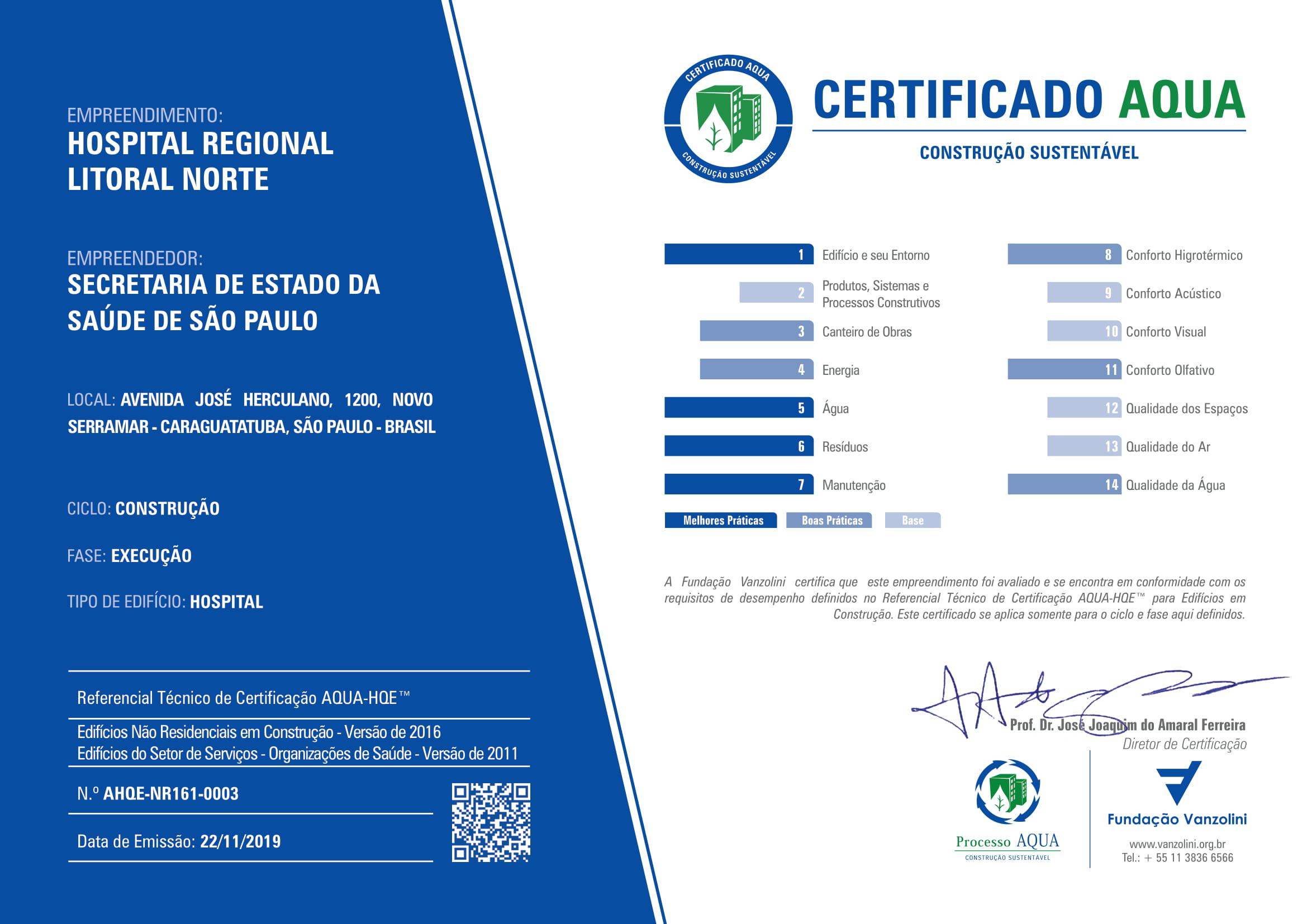 Certificado AQUA - NR-2013 - AHQE-NR161-0003 - HOSPITAL REGIONAL LITORAL NORTE - EXECUCAO-1